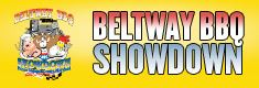 Logo with Beltway BBQ Showdown written in blue and red against a yellow background