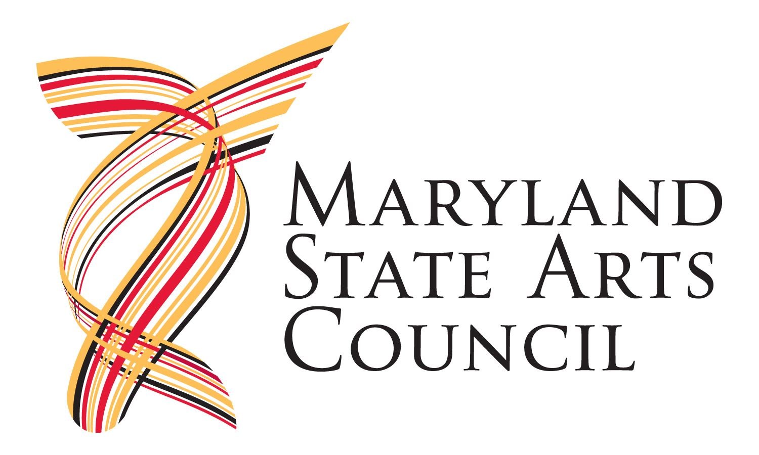 Logo for Maryland State Arts Council written in black with red, yellow, and black lines to the left