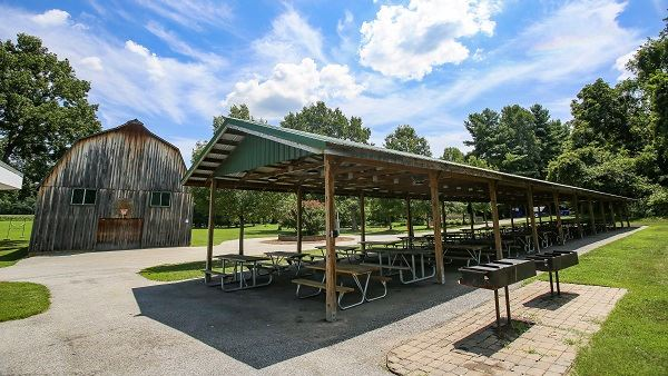 Patuxent River Park Pavilion with Rustic Barn in the background