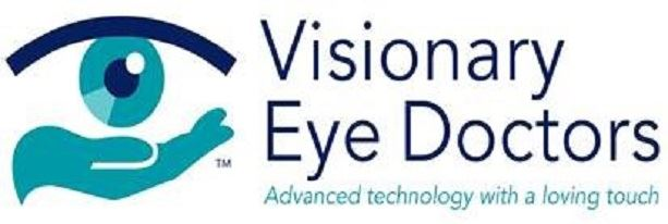 Logo for Visionary Eye Doctors in blue with depiction of an eye with cupping hand beneath
