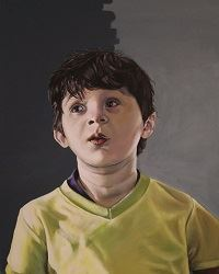 Painting of young, dark-haired Hispanic boy who is about 10 years old