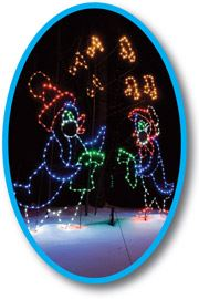 Depiction of penguins and snowmen in winter clothes created with string lights