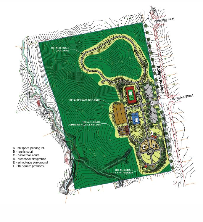 A colorful map image depicting the Rollins Avenue Park Development plans.