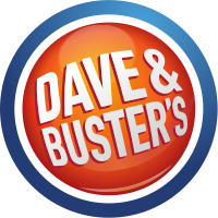 Logo for Dave and Busters written in white surrounded by orange and blue circles.