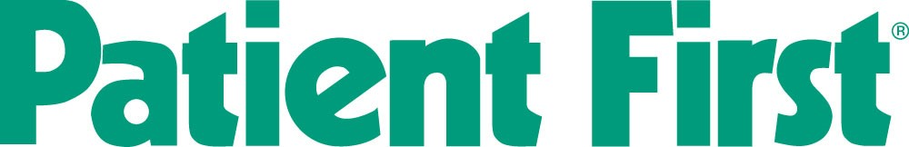 Logo for Patient First written in bold green lettering.