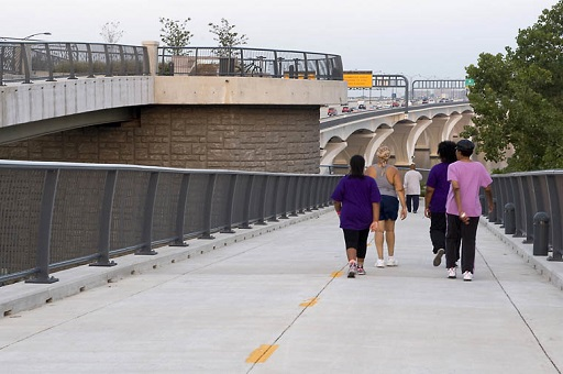 Four walkers on Woodrow Wilson Bridge Trail
