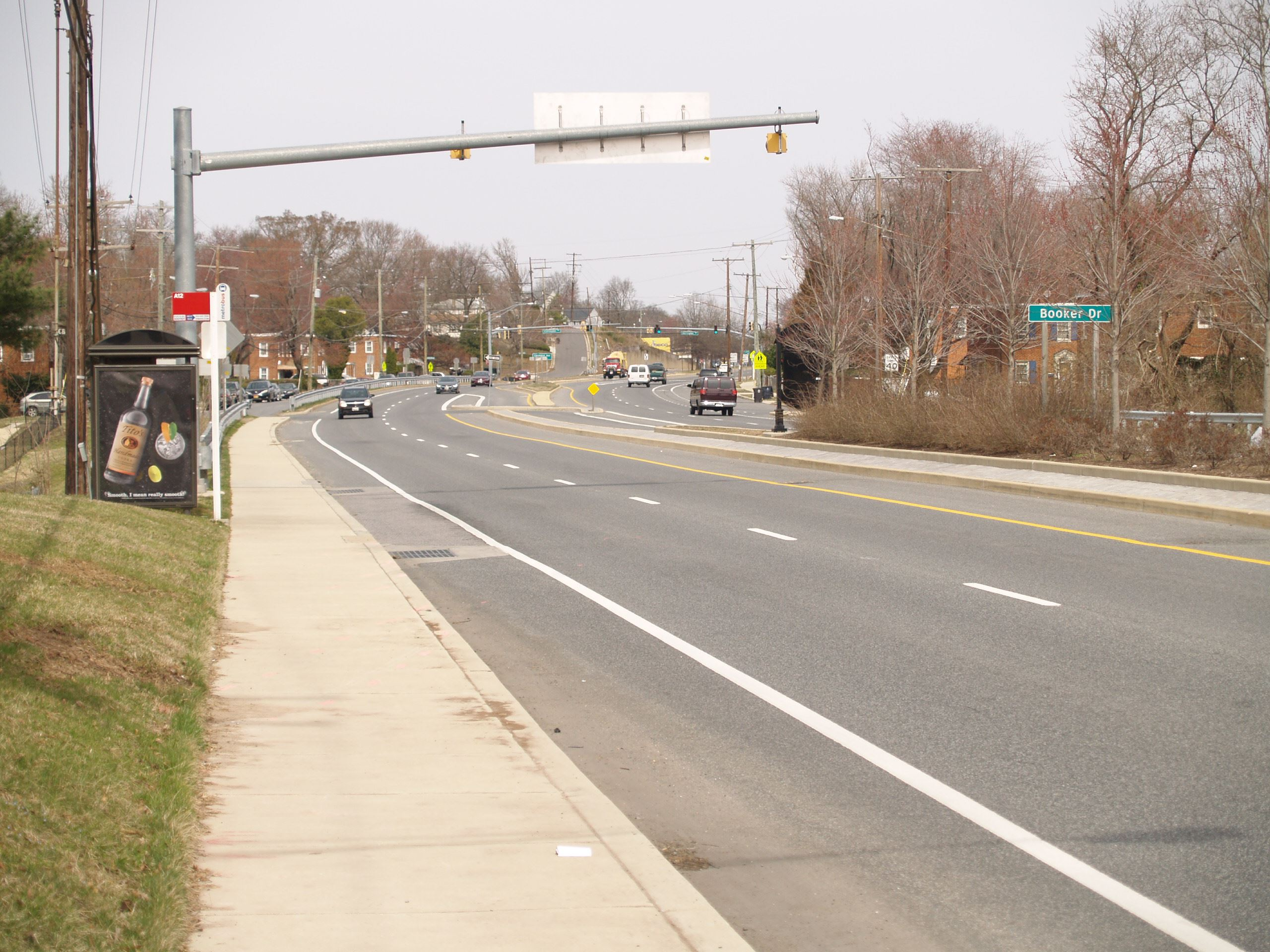 Westbound MD 704 at 901 MLK Jr. Hwy. - Looking east towards Booker Dr.