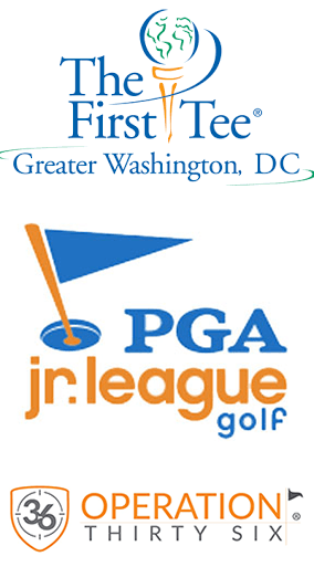 Three logos for golfing organizations written in blue and orange text