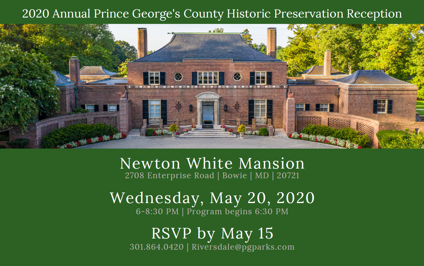 May 2020 Historic Preservation Reception Mailer