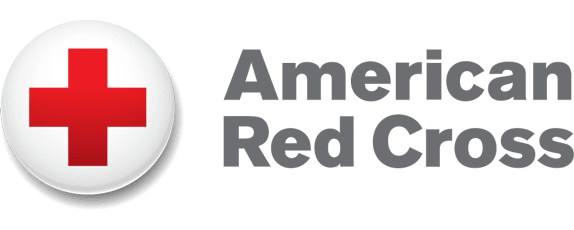 Logo reading American Red Cross with a bold red cross inside of a white sphere
