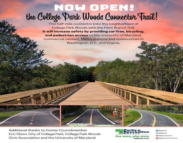 Completion flyer about College Park Woods Connector Trails