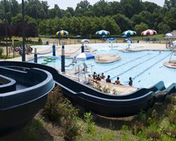View of the Glenn Dale Splash Park pool from the top of the water slide
