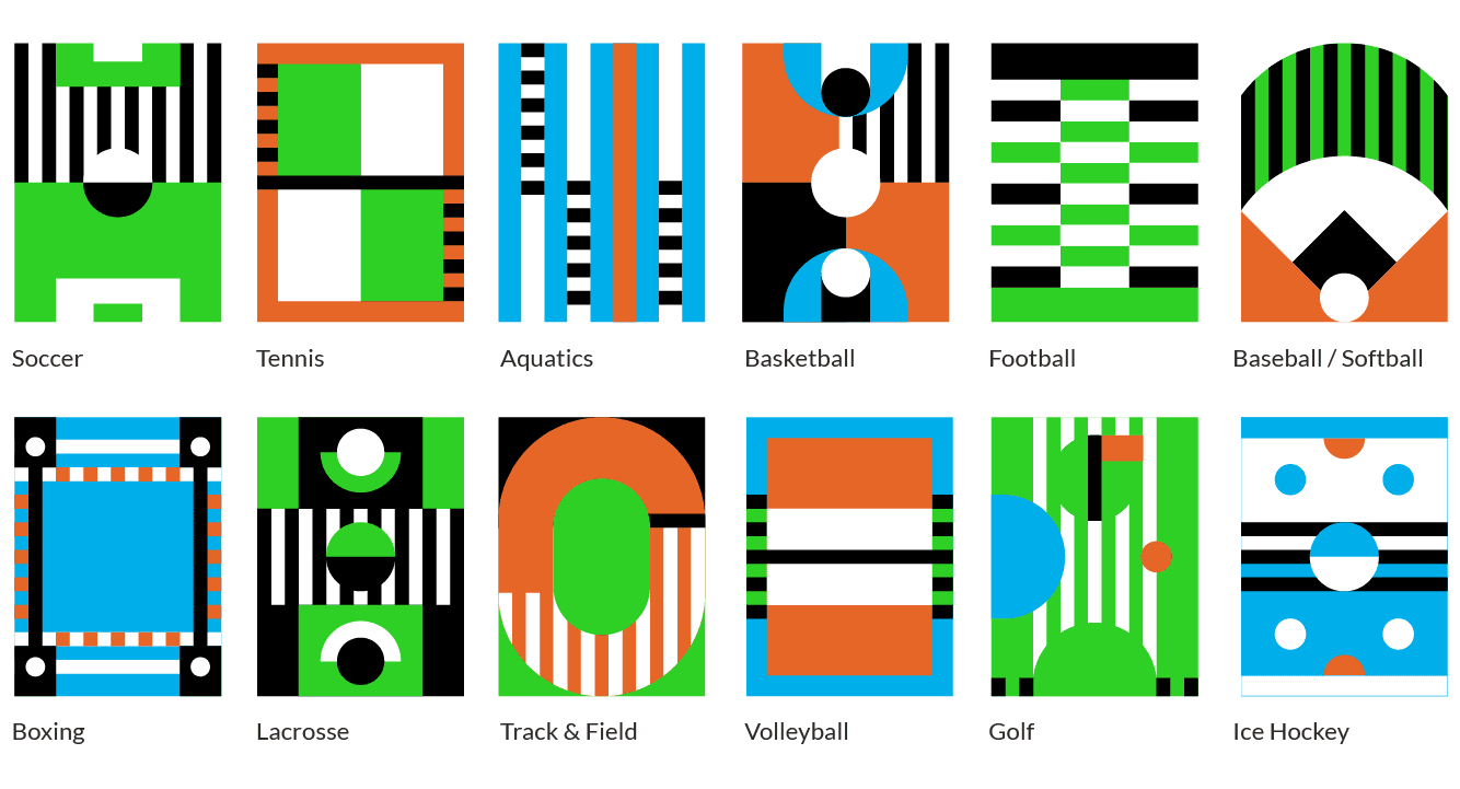 grid of vector buttons of various sports