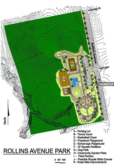 A colorful map of the Rollins Site Plan