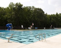 View of the J. Franklyn Bourne Memorial Pool with surrounding trees on a sunny day