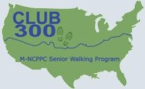 Logo for 300 Club Walking club with green graphic of America with Club 300 written inside.