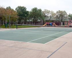 the tennis courts at Upper Marlboro community center on a sunny day