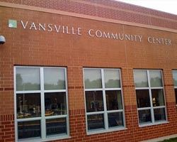 The exterior of the Vansville Community Center building