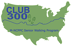 Green graphic of the USA with Club 300 Walk MNCPPC Senior Walking Program written in center