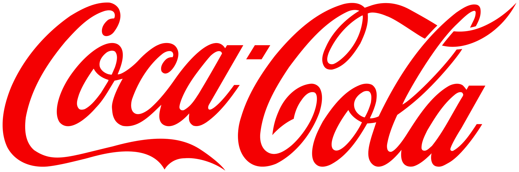 Logo for coca cola written in bright red cursive lettering.