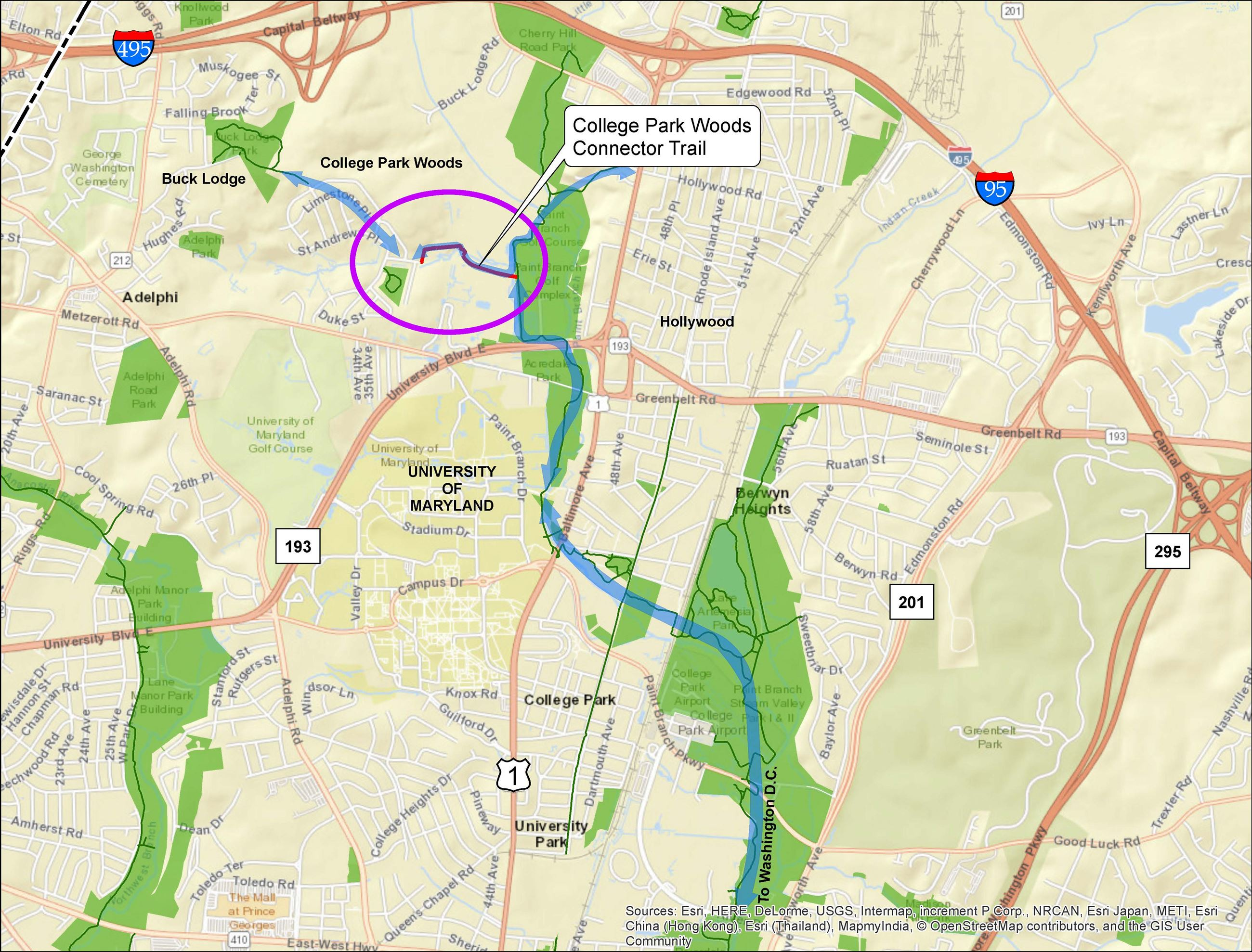 A map image depicting the College Park Connector Trail vicinity north of College Park, MD.