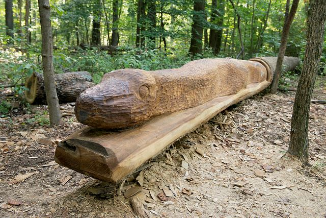 Large wooden sculpture of a Maryland Black Rat Snake