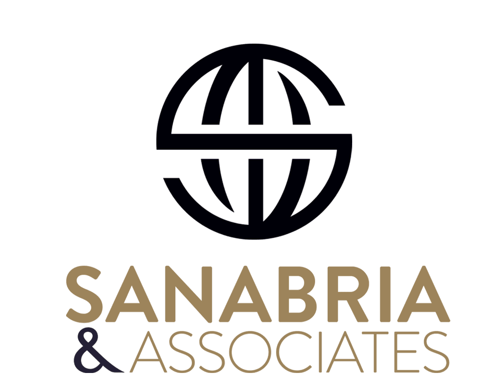 Logo for Sanabria and Associates written in black and gold with spherical logo on top.
