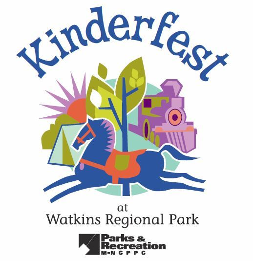 Colorful logo for Kinderfest with a drawn purple horse leaping around trains, trees, and tents.