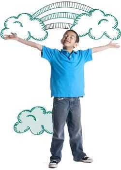 A standing boy with arms open and a graphic drawing of clouds on his hands with connecting rainbows
