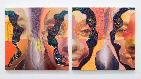 Three broken, colorful faces with colored shapes inside