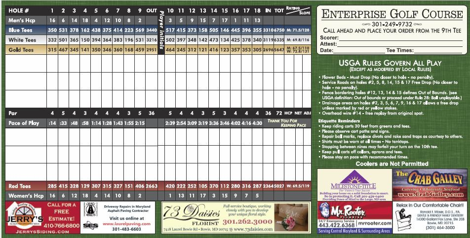 Sample Enterprise Golf Score Card