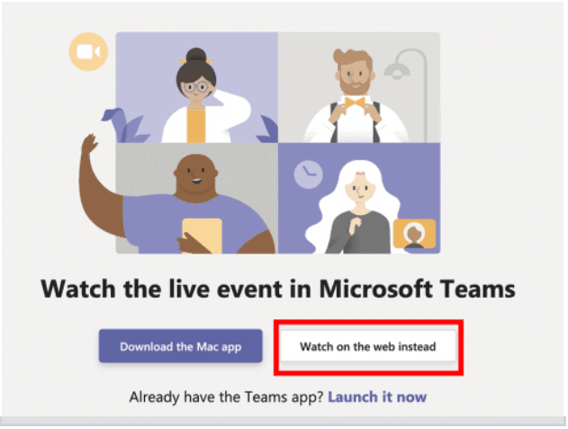 Screenshot of Microsoft Teams Welcome page with red box highlighting 'Watch on the web instead'