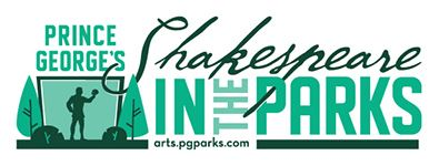 Shakespeare in the park logo written in green letters with graphic image of a theater.