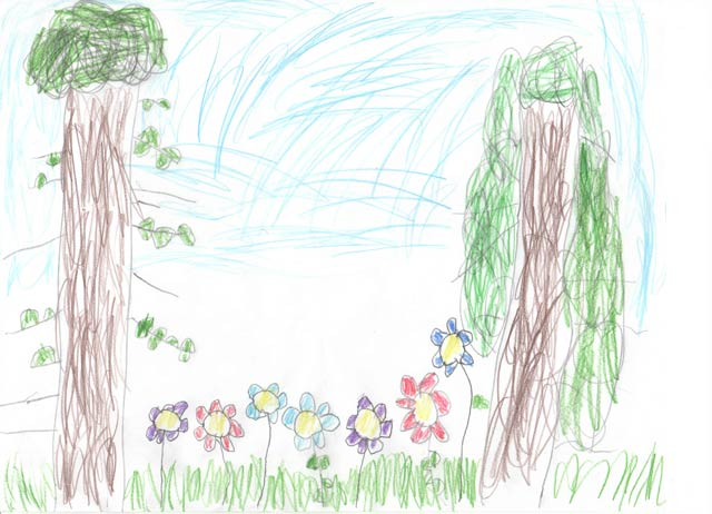 A drawing of trees in the Spring by Eleni SJ