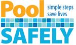 Logo reading Pool Safely, simple steps save lives in blue and orange letters