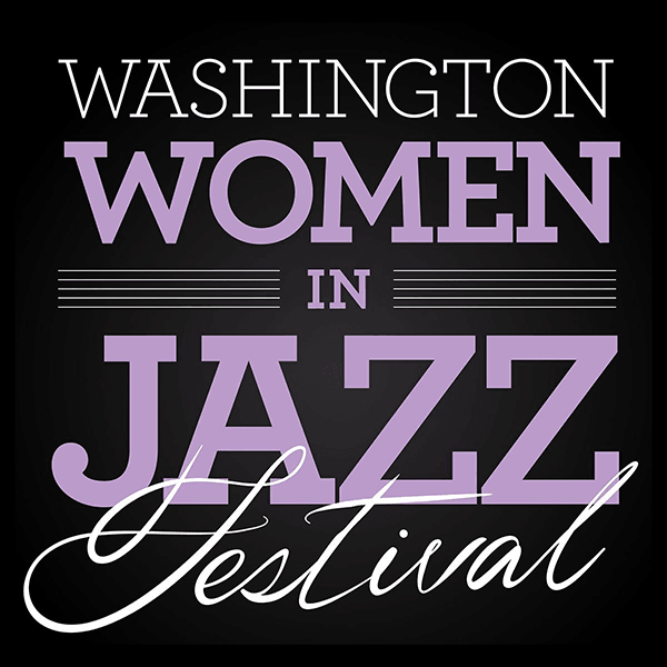 Logo with purple letters saying Washington Women in Jazz Festival with black background