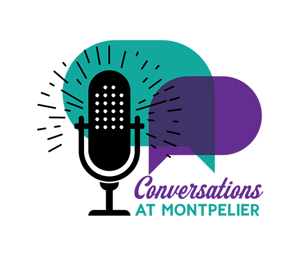 "A teal and purple logo with a black microphone and words ""Conversations at Montpelier"""