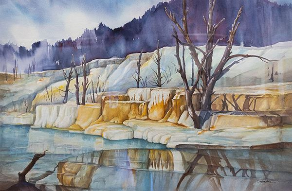 Painting of a desert hot spring on a winter day with blue and yellow mountains and a river