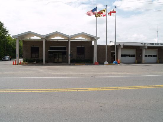 Flags outside the fire station doors