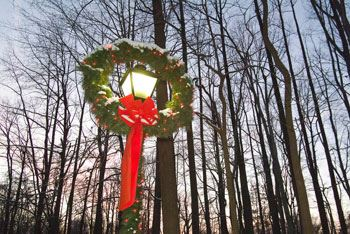 Wreath on Light Post